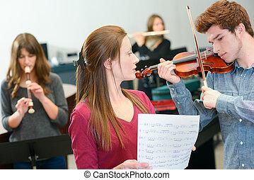 munka, zene tanár