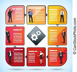 munkavállaló, bemutatás, diagram, ügy