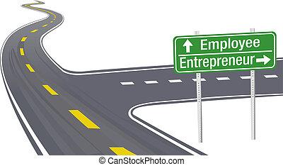 munkavállaló, vállalkozó, elhatározás, ügy cégtábla