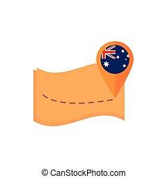 mutató, ikon, australia lobogó, háttér, navigáció, térkép, fehér