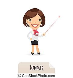 mutató, menedzser, lézer, női