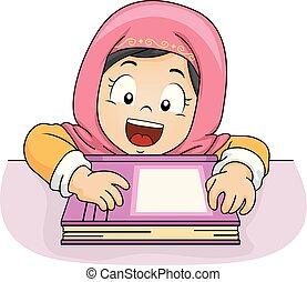 muzulmán, dől, asztal, kölyök, leány, ábra, könyv
