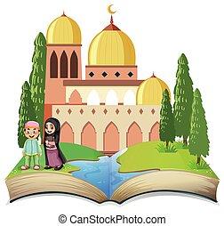 muzulmán, nyitott könyv, gyerekek