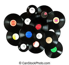 myself, elkészített, irattár, színes, szüret, elvont, elnevezés, minden, elszigetelt, háttér, zene, vinyl, háttér, fehér, felett, tervezett