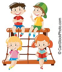 négy, állomás, mászó, gyerekek, ülés