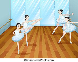 négy, balett-táncosok, elpróbál