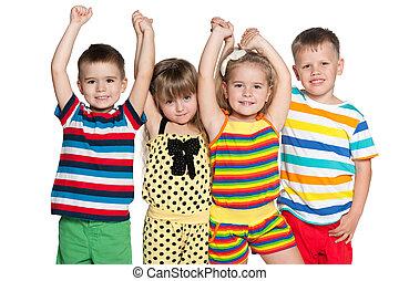 négy, csoport, vidám, gyerekek