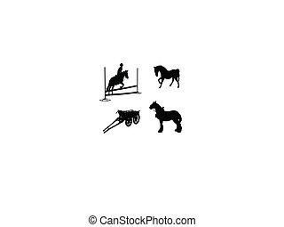 négy, egy, oldal, lovas