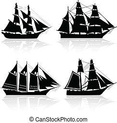 négy, hajó, vektor, öreg, körvonal