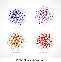 négy, körök, molekuláris