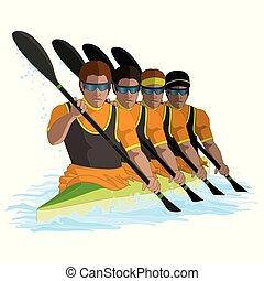 négy, kayaking, evező, hím, elszigetelt, víz, háttér, k4, fehér, befog