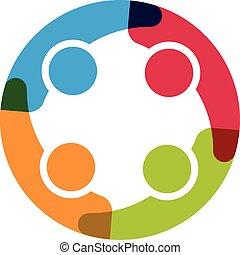 négy, logo., karika, csoport, emberek