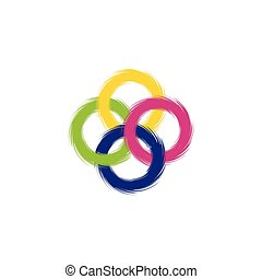 négy, színezett, edges., gyűrű, egyenetlen, keresztező
