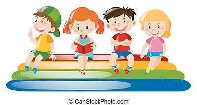 négy, tutaj, úszó, gyerekek, ülés