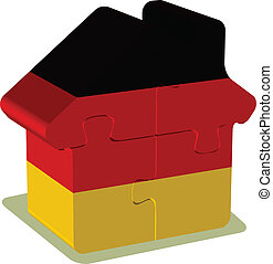 német, épület, rejtvény, lobogó