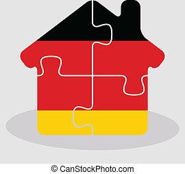 német, épület, rejtvény, lobogó, otthon, ikon