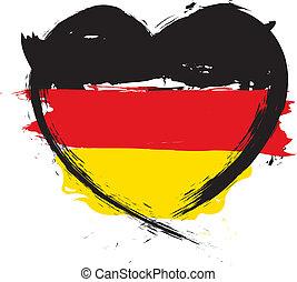 német, szív alakzat, lobogó