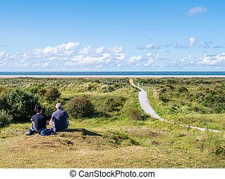 németalföld, tenger, dűnék, gyalogút, észak, emberek, schiermonnikoog, tengerpart, bágyasztó