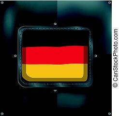 németország, keret, lobogó, metalic
