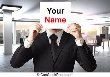 név, hivatal, modern, arc, mögött, üzletember, aláír, -e, elverés