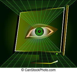 néz, monitor, számítógép, szem