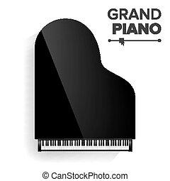 nézet., illustration., tető, elszigetelt, gyakorlatias, fekete, vector., nagy, instrument., zongora, zenés