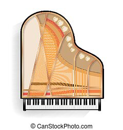 nézet., kinyitott, tető, elszigetelt, gyakorlatias, fekete, vector., nagy, instrument., zongora, zenés, illustration.