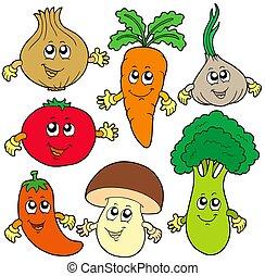 növényi, csinos, karikatúra, gyűjtés