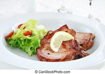 növényi, disznóhús, hússzelet