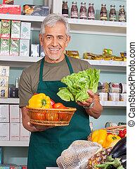 növényi, eladás, eladó, idősebb ember, bolt