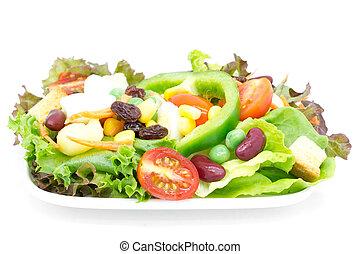 növényi, friss, fehér, elszigetelt, saláta