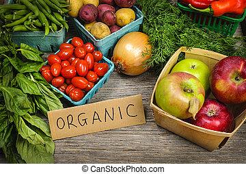 növényi, szerves, piac, gyümölcs