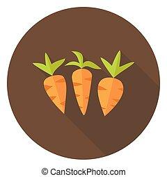 növényi, vörös haj, hosszú, árnyék, karika, ikon