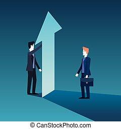 növekedés, anyagi, businessmen, nyíl, befog