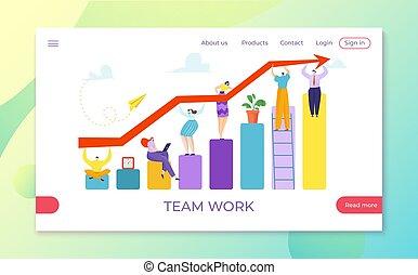 növekedés, nyíl, befog, illustration., grafikus, pénzel, ábra, ábra, siker, vektor, együtt, diagram, előrehalad, csapatmunka, befolyás, befektetés