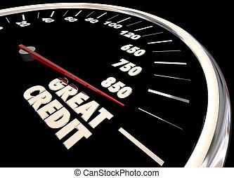 növekszik, sebességmérő, bemetsz, jelent, megjavít, ábra, hitel, nagy, 3