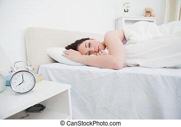 nő, ágy