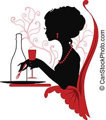 nő, árnykép, bágyasztó, étterem