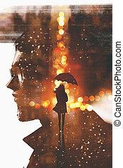 nő, árnykép, megkettőz, arc, ember, kitevés