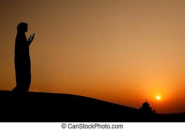 nő, árnykép, muzulmán, imádkozás