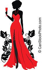 nő, árnykép, wineglass