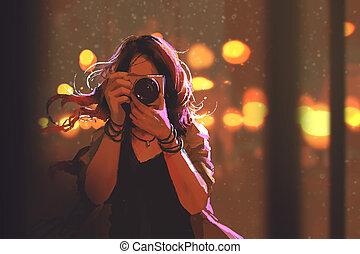 nő, éjszaka, fényképezőgép, háttér, város