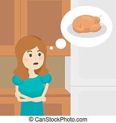nő, élelmiszer, diéta, vektor, ízletes, ábrándozás