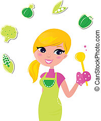 nő, élelmiszer, elszigetelt, -, előkészítő, zöld, egészséges, főzés, v, fehér