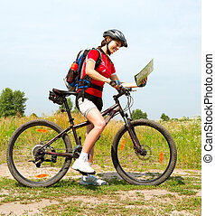 nő, életmód, egészséges, fiatal, lovaglás, külső rész., bicikli, boldog