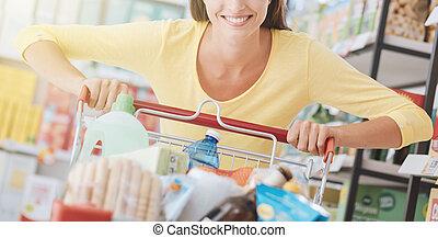 nő, élvez, bevásárlás