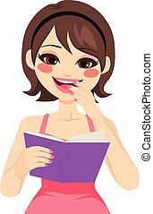 nő, élvez, könyv