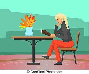 nő, étrend, ősz, vektor, kávéház, évad, felolvasás