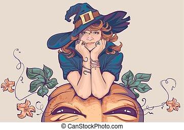 nő, öltözött, fiatal, feláll, boszorkány, jelmez