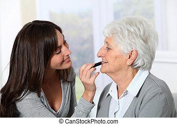 nő, öreg, alkat, fiatal, ételadag, dobás